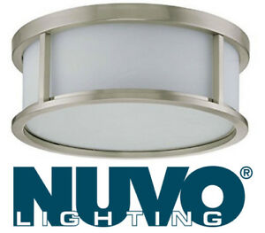NEW Nuvo Lighting Odeon Large, Flush Drum, Satin White Glass