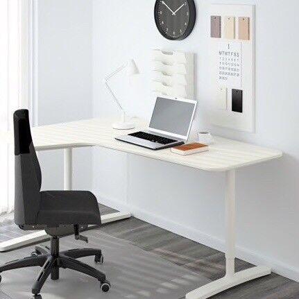 Ikea Office Desk White Left Corner