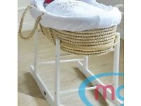 Moses basket with a rocking stand - nearly new!