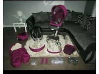 CAN POST OR DELIVER STOKKE XPLORY V4 ONLY MONTHS OLD PURPLE TEXTILES MAXI COSI CAR SEAT
