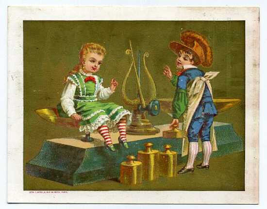 Appel litho trade card - girl on set of scales
