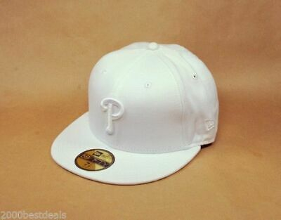 New Era 59Fifty Cap MLB Philadelphia Phillies White on White Mens Fitted Hat 59fifty White Hat
