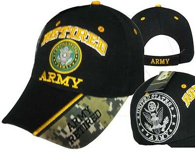 Adult US Army Retired With Seal Black Adjustable Strap Hat Cap