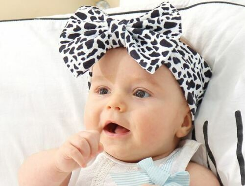 Adorable baby girl headband with bow in Black/White Leopard Print, Free Shipping