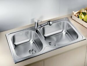 New! Wide Blanco stainlesss steel kitchen sink