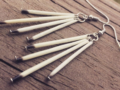 antique silver quill earrings