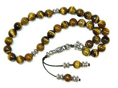 B-0009 - Prayer Beads - Fidget Beads - 8mm Tiger Eye Gemdtone Beads, used for sale  United Kingdom