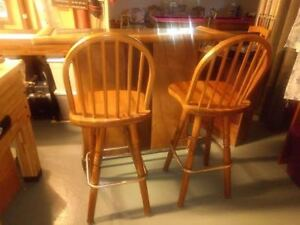 Bar and 2 Wooden Bar Chair Stools $125.00