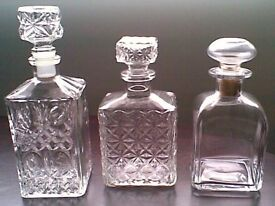 3 1970's Glass Decanters