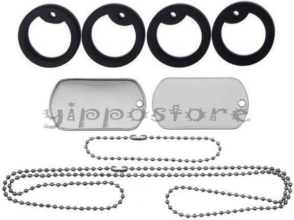 Military Spec Stainless Steel Blank Dog Tag Set Complete with Chains & Silencers