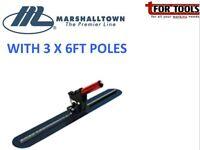 "Marshalltown 36"" Fresno Trowel Concrete Float w/ Round Ends& 3x 6' poles'"