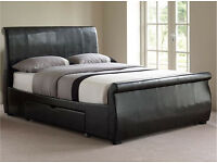 King size real leather bed with drawers incl. mattress £299! RRP £950 incl. mattress