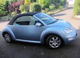 Beautiful blue metallic VOLKSWAGEN BEETLE convertible, 2004, FSH, 2.0l, manual, very low mileage