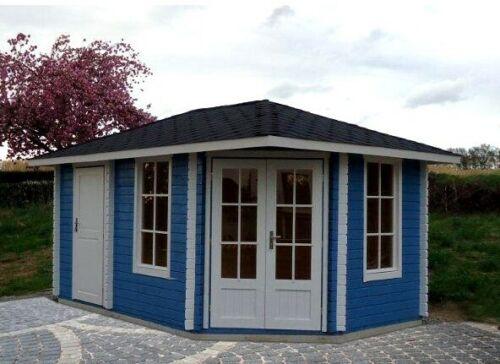 Details zu 40 mm 5 Eck Gartenhaus Holzhaus Holz Norwegen 9 450x298  Blockhaus Gerätehaus