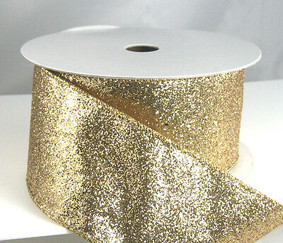 Wired Glitter Christmas Ribbon 40 2 1/2 - Gold, Silver, Red, Blue, Teal, Mesh