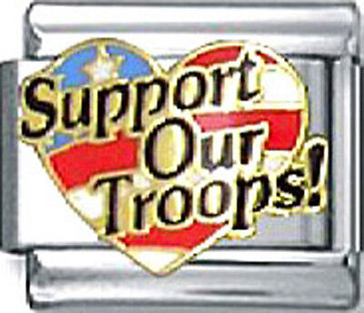 Italian Charm Support Our Troops US American Flag Heart