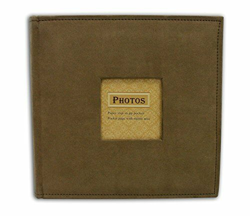 """Suede Cover Brown Photo Album, Holds 200 4""""x6"""" pictures  2 per page"""
