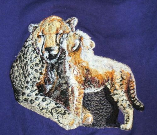 Embroidered Ladies Short-Sleeved T-Shirt - Cheetah and Cub BT3641