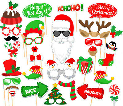 32PCS Christmas Santa Party Masks Decorations Photo Booth Props Supplies US SHIP