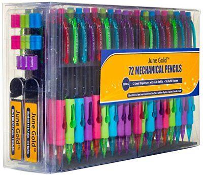 June Gold 7 Mechanical Pencils 2 0.7 Mm Lead Convenient Side Click Bonus 20