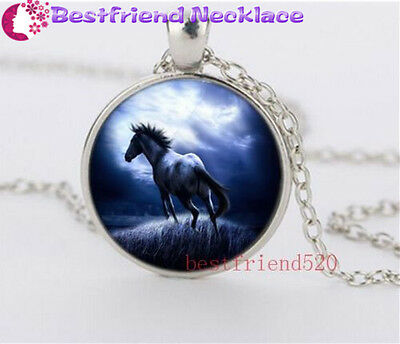 Beautiful horse Cabochon Glass silver necklace for women men Jewelry