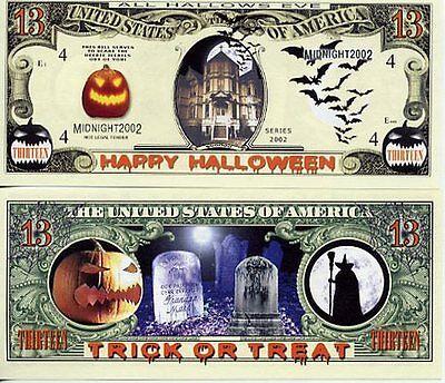 Halloween 13 Dollar Bill Fake Funny Money Novelty Note+FREE SLEEVE](Fake Halloween Money)