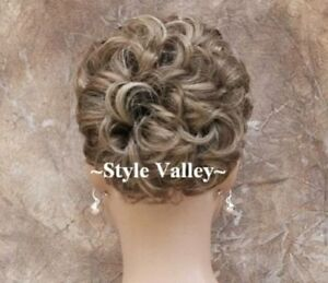 Brown Blonde mix Bun Hairpiece Extension Pageant Up do Curly Wedding Hair Piece