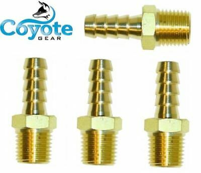 Ships Free 4 Pack Lot Brass Fittings 14 Hose Barb X 14 Npt Male Pipe Thread