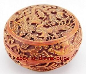 Chinese Old Bone Handwork Carving Dragon Jewel Box
