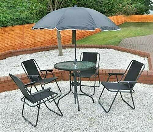 Garden Furniture - 6 Piece Garden Furniture Set Dining Table 4 Chairs Seats + Parasol Patio Black