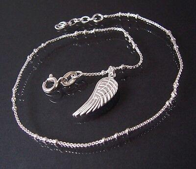 Fußkette Kette Veneziakette 925 Silber 24-26cm Perlen Flügel Anhänger 18310-26
