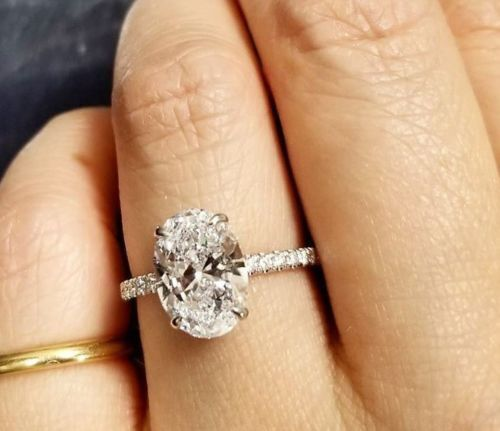 Lovely 14K 2.00 Ct. Oval Cut Diamond Round Engagement Micro Pave Ring H,VS2 GIA