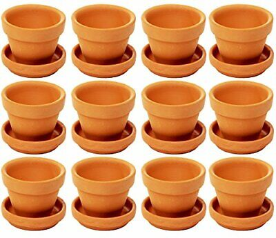 Small Terra Cotta Pots with Saucer- 12-Pack Clay Flower Pots with Saucers, Mini