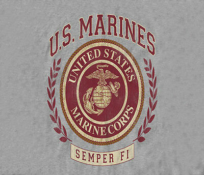 U.S. Marines USMC Marine Corps Laurel Leaf Circle Logo GRAY Adult T-shirt -