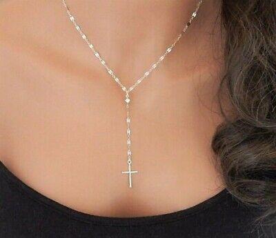 """Delicate Simple Y Necklace with Cross Lariat Sterling Silver Necklace 16"""" Adj."""