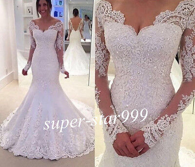 New White Ivory Lace Bridal Gown Wedding Dresses Custom Size 6 8 10 12 14 16 18