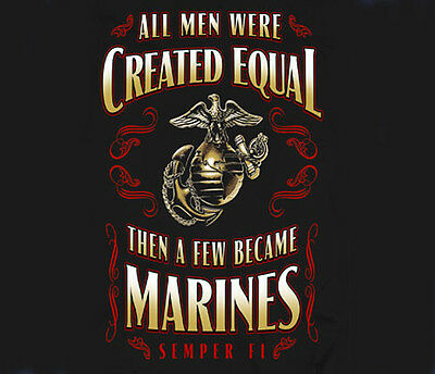 Us Marine Corps All Men Created Equal Black Adult T Shirt