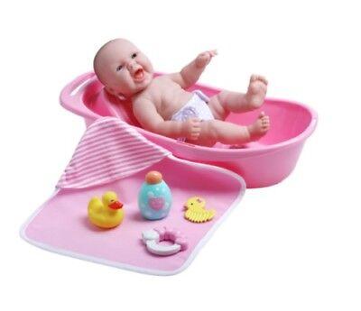 "JC Toys LA NEWBORN 13"" BERENGUER BABY GIRL BATH GIFT SET"