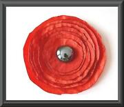 Handmade Poppy Brooch
