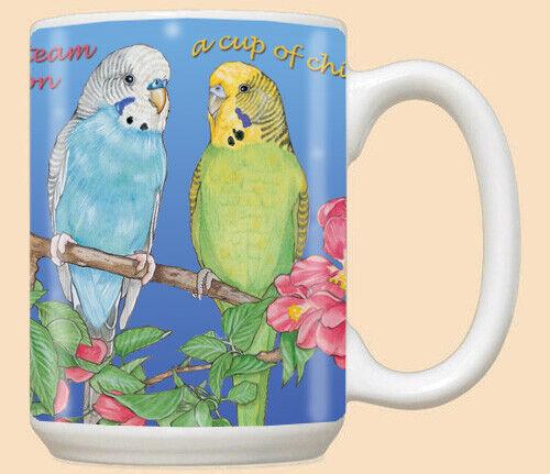 Parakeet Bird Budgie Ceramic Coffee Mug Tea Cup 15 oz