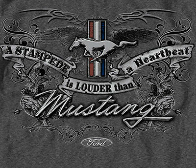 Ford Mustang Stampede Is Louder than Heartbeat Emblem GRAY Adult (Emblem Adult T-shirt)
