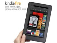 Kindle Fire with black leather case
