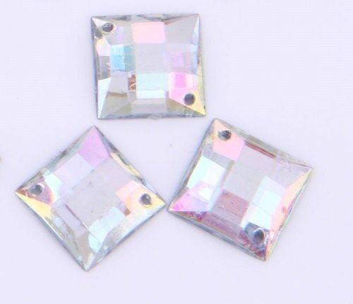 CraftbuddyUS50pc Acrylic 12mm Sew On AB Clear Square Diamante Rhinestone Crystal