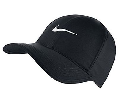 NEW NIKE Dri-Fit Feather Light Run Tennis Hat Cap BLACK/WHITE 679421 ADJUSTABLE