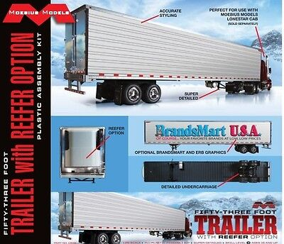 Moebius 1302 1/25 53' Trailer w/R eefer Option Plastic Model Kit