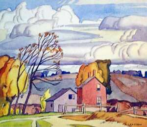 """""""Old Farm House"""" Lithograph by A.J. Casson appraised at $800"""