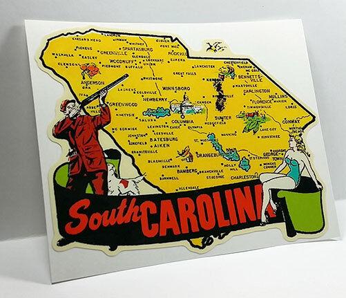 South Carolina Vintage Style Travel Decal, Vinyl Sticker, luggage label