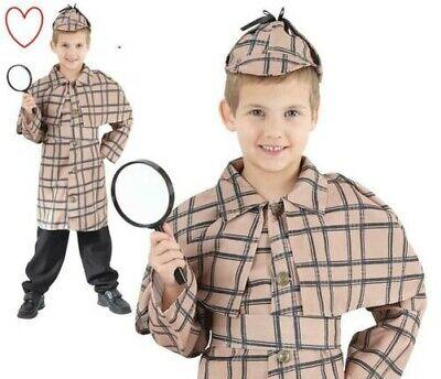 Kinder Jungen Sherlock Holmes Kostüm Detektive Buch (Buch Tag Kostüm Kinder)