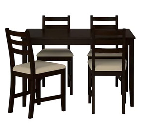 Six-person black wood IKEA Lerhamn Table&chairs, great condition