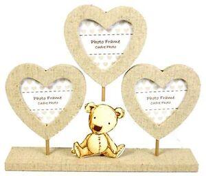 Teddy Bear Triple Heart Stand Photo Frame